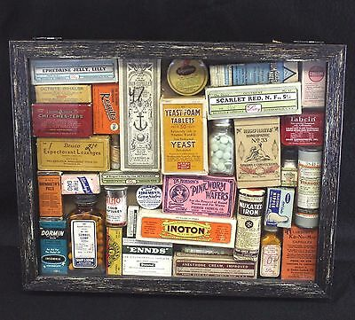 Antique Apothecary Collection w contents Dr Hobson Wafers Humphrey's Parke Davis