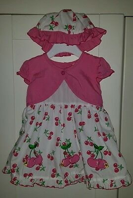 SWEET ELEGANCE Baby Cherry Outfit - Summer Dress/Hat/Pants -Pink- 6 to 12 months