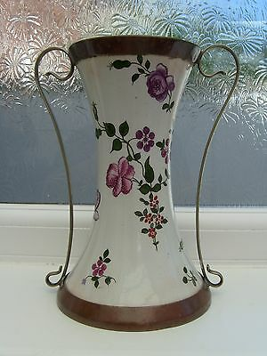 Antique  Hand Painted Porcelain Vase Sheffield Made in England silver plated