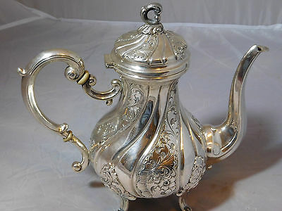 ANTIQUE 800 SILVER TEAPOT HALLMARKED ORNATE EMBOSSED NOT 925 STERLING 25 OZs