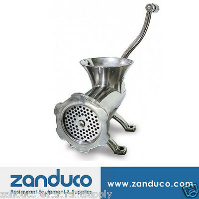 Omcan #22 Stainless Steel Manual Meat Grinder with 4.8 mm Machine Plate