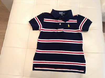 Polo Ralph Lauren baby boy polo shirt age 12 months  navy with red and white str