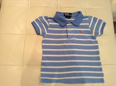 Polo Ralph Lauren baby boy blue and white stripe polo shirt age 12 months
