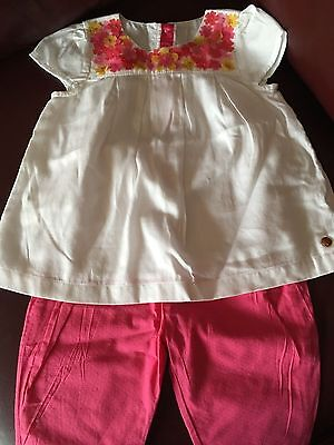 Marks and Spencer Autograph pink and white linen baby girl set 6-9 months