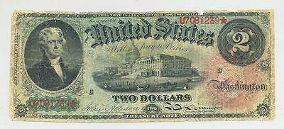 """1869 $2 Two Dollar Bill United States Legal Tender """"Rainbow"""" Large Treasury Note"""