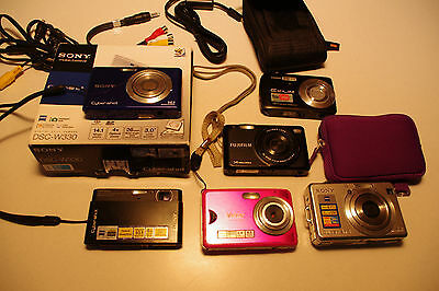 Untested Lot of 6 P&S Digital Cameras and Accesories