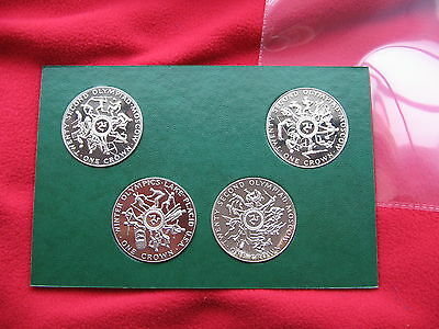 *SCARCE B-UNC 1980 ISLE of MAN MANX- 4 CROWN SET MOSCOW OLYMPICS*