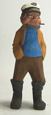 Vintage Hand Painted Carved Wooden Nautical Seaman Captain Old Man Figurine