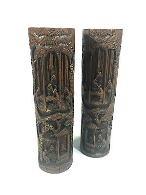 Antique Chinese Wooden Brush Pots Bamboo 1900's Hand Carved Pair