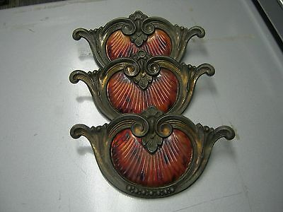 Lot of 3 Art Deco vintage Waterfall Drawer Pulls Handles Dresser Bakelite