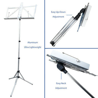 Paititi Brand New Durable Adjustable Folding Music Stand w Carrying Bag-Silver