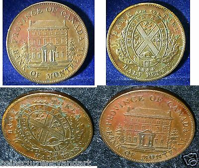 Province. Of Canada .Bank of Montreal Half penny token  1844 PC-1B1