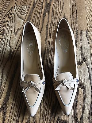TOD'S WOMEN'S Tan POINTED TOE LEATHER Wooden HEEL PUMP SHOES Sz 10