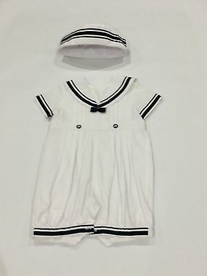 Sarah Louise Boys Sailor Suit With Matching Hat.  Christening/Wedding 12 Months