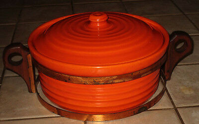 Bauer Large Orange Ringware Casserole w/ Stand