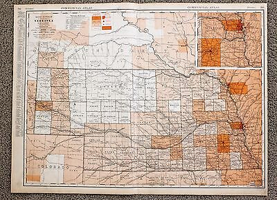 1935 NEBRASKA Railroad Map Large Double Page RR List Routes ORIGINAL