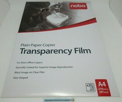 Nobo PP100C OHP Plain Paper Copier Transparency Film 20/Pack free post