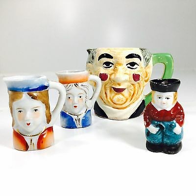 Vintage Toby Miniature Jugs Mugs Porcelain China Made In Occupied Japan Lot of 4
