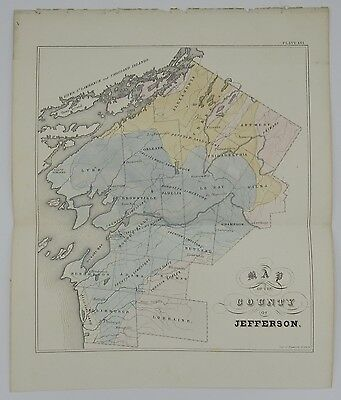 Antique hand colored Map of the County of Jefferson New York Endicott c.1850
