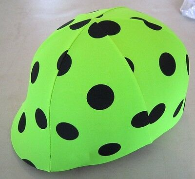 Horse Helmet Cover ALL AUSTRALIAN MADE Lime & Black dots Any size you need
