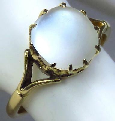 Gorgeous Antique Victorian 18K CT Gold Glowing Moonstone Cabochon Ring Size 7.5