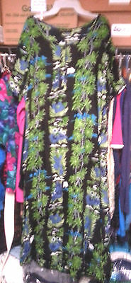 Point One Navy Tropical Pattern 2x Plus size Dress Jewel Neck Should.Pads $17.95