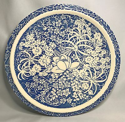 "Rare Don Blanding Hawaiian Flowers Blue Large Luncheon Plate 9 1/2"" Vernon Kilns"