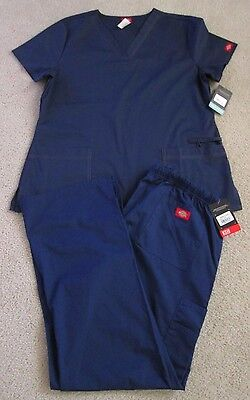 NWT Women's DICKIES Gen Flex/Eds Scrub Set (Pants/Top) - Size L - Navy Blue