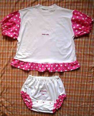 Adult-Baby-T-Shirt-Diaper-Cover-Set Pink Polka Dot And White  Personalize