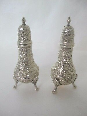 Fantastic 19Th Cent. Kirk And Son Repousse Sterling Salt And Pepper Set