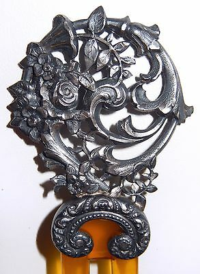Antique Victorian Hair Comb Ornate Silver Flowers Carved Amber Lucite
