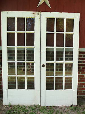 """Salvaged 15 Lite Wood Glass Double  Doors - 55"""" X 79"""" - Chippy -French Style"""