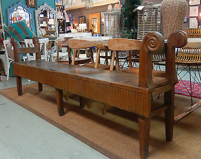 Incredible Antique 8' Long Primitive Rustic Handcrafted Bench
