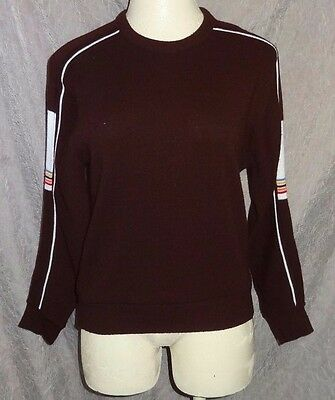 Vintage Brown White Rainbow Pullover Knit Sweater M 1970's