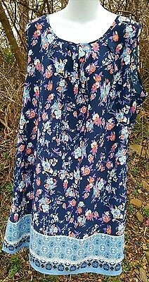 Nwt~ 2Xl, 2X Sleeveless Shirt Dress Floral Multicolor Scoop Neck Lightweight
