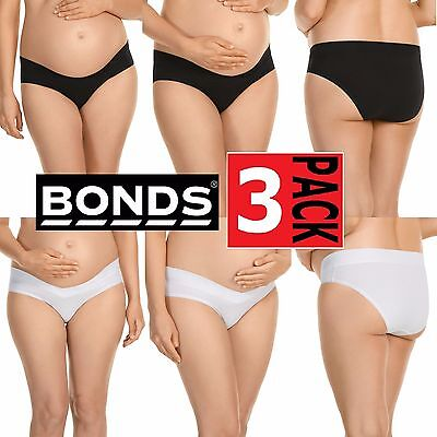 3 x BONDS WOMENS MATERNITY BUMPS BIKINI UNDERWEAR WHITE BLACK PREGNANT PANTIES