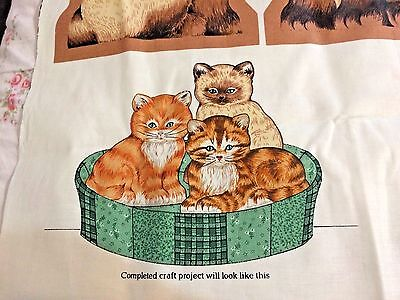 Vtg Cranston VIP Fabric Panel Basket of Kittens Cat Tabby Orange & Siamese