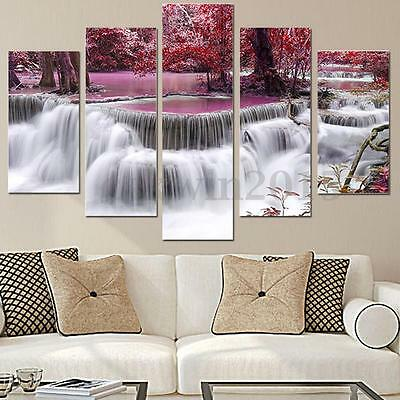 5Pcs Forest Waterfall Abstract Picture Canvas Oil Painting Art Wall Home Decor