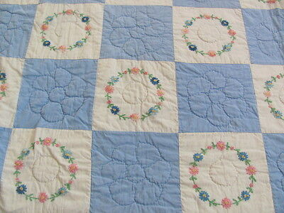 Vintage cotton blue white embroidered wreath quilt
