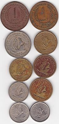 10 Different Coins From British Caribbean Islands - 1955 to 1965