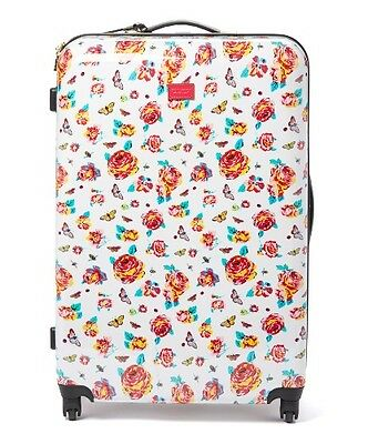 """BETSEY JOHNSON White 27"""" BRIGHT LIGHTS FLORAL Roller Carry-On Luggage - NEW"""