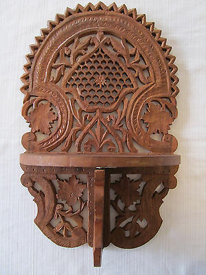 Vintage HAND CARVED Wooden Folding Wall Shelf from India