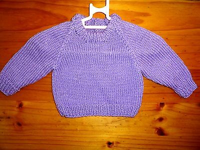 Baby Hand Knitted Girls Jumper In Mauve  ... Chest 40Cm
