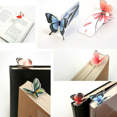 5X Creative Butterfly Bookmarks Cartoon Book Marks Paper Clip Office School Gift
