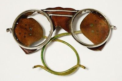 Vintage Willson Safety Glasses Steampunk Leather Side Guards Motorcycle Aviator