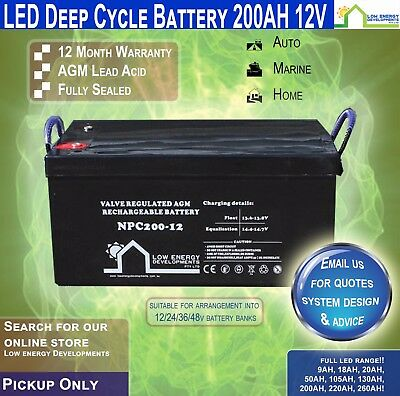 200AH Amp Hour 12V Battery AGM Deep Cycle 12V -LED -PICKUP-