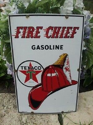 Vintage Original 1956 Texaco Porcelain Gas Station Pump Plate Sign Fire Chief