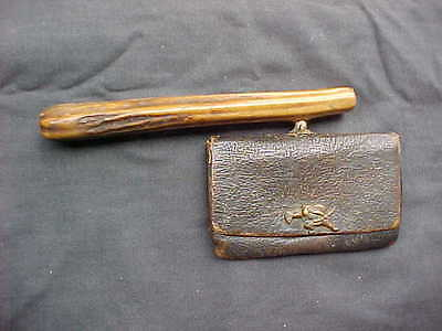 Antique Japanese Pipe Case Leather Pouch Sagemono Samurai Old Bone Handle/Holder
