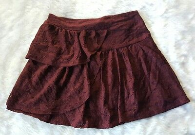 Cotton On Women's Lace Layered Burgundy Lined Elastic Waist Skirt Size M K9