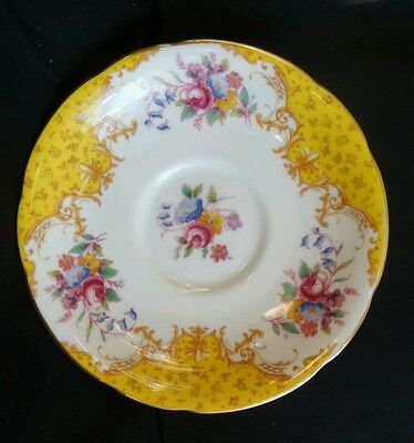 Vintage Paragon Yellow Floral flowers Bone China Saucer England